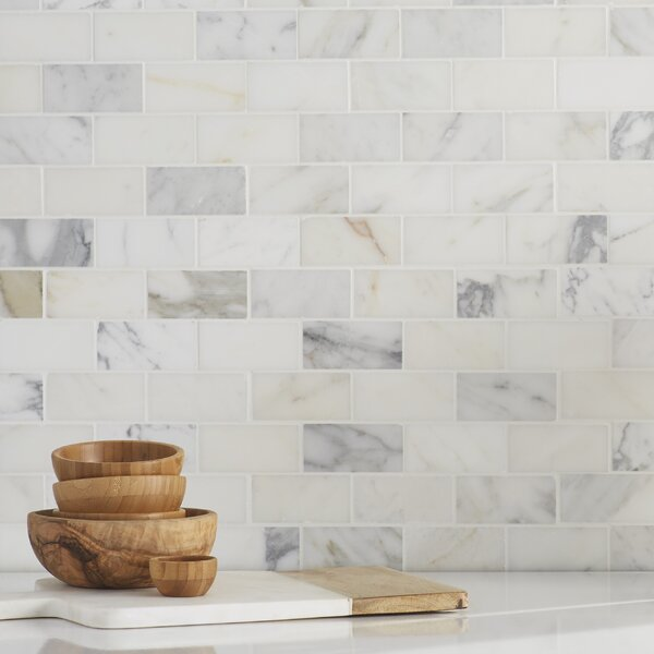 Calacatta Gold Mounted 2 x 4 Marble Subway Tile in