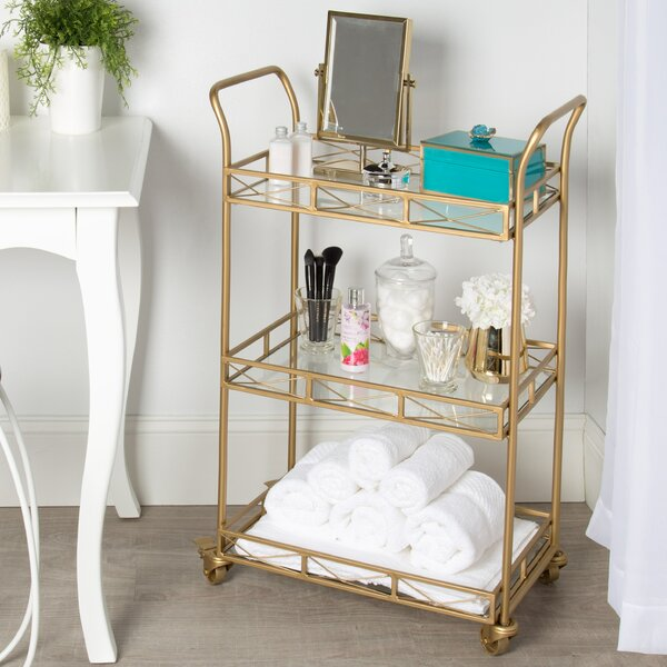Menachem Metal 3 Tiered Tray Bar Cart by Bungalow Rose