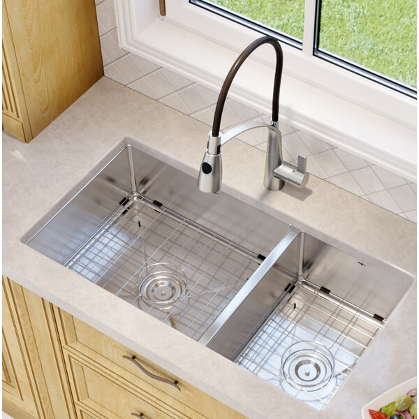 Prestige Series 32 L x 18 W Double Basin Undermount Kitchen Sink with Faucet by Ancona
