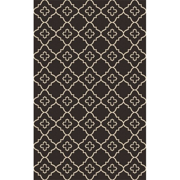 Avera Hand-Woven Black/Beige Area Rug by Bungalow Rose