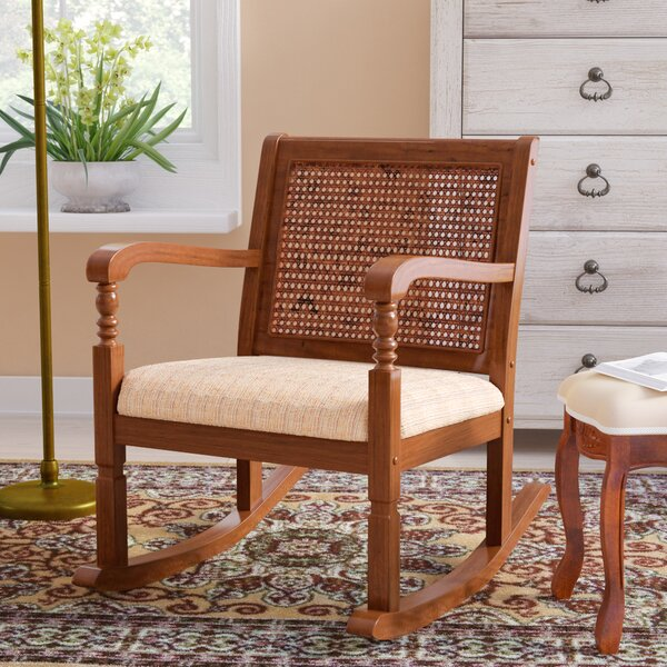Douglass Solid Pine Wood Rocking Chair with Fabric Seat by Three Posts
