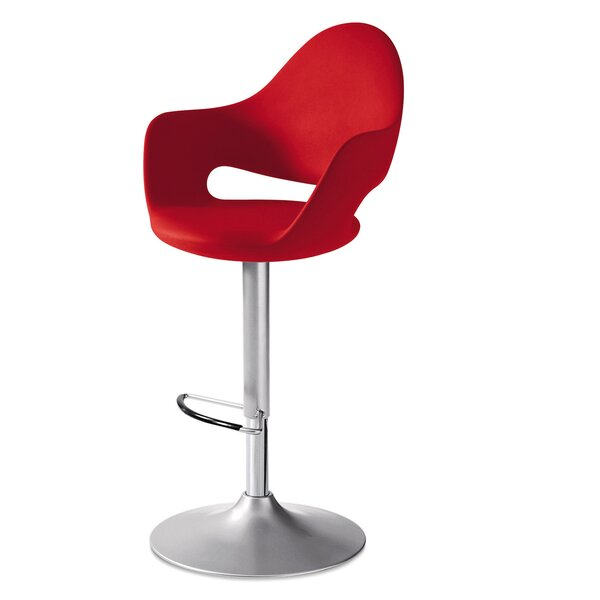 Soft Adjustable Height Swivel Bar Stool by Domitalia