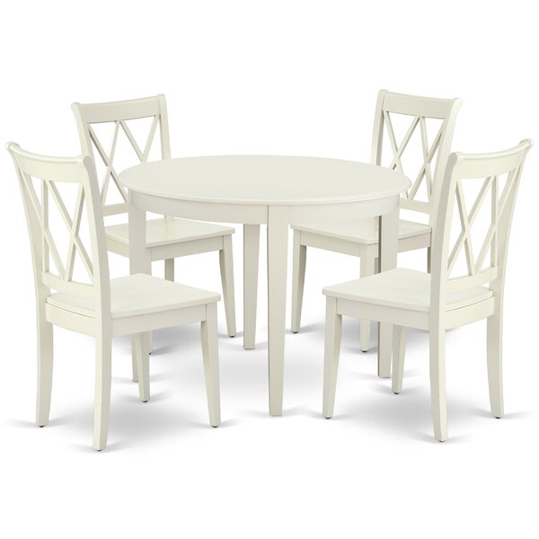 Lacluta 5 Piece Solid Wood Breakfast Nook Dining Set by August Grove