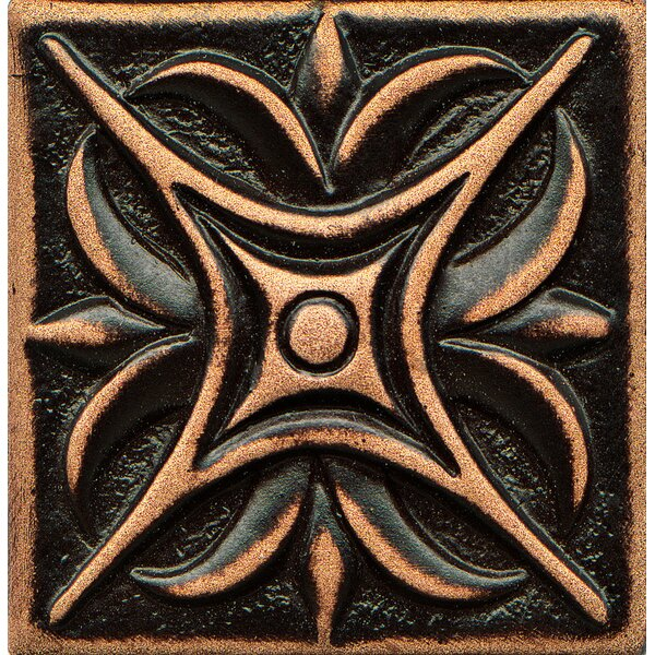Ambiance Insert Rising Star 2 x 2 Resin Tile in Venetian Bronze by Bedrosians