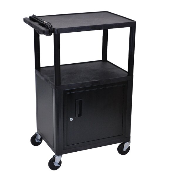 Open Shelf Endura Equipment AV Cart with Locking Cabinet by Luxor