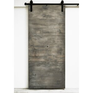 Modern Slab Wood 1 Panel Stained Interior Barn Door