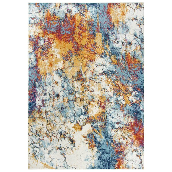 Burnette Yellow/Blue/Light gray Area Rug by Bungalow Rose