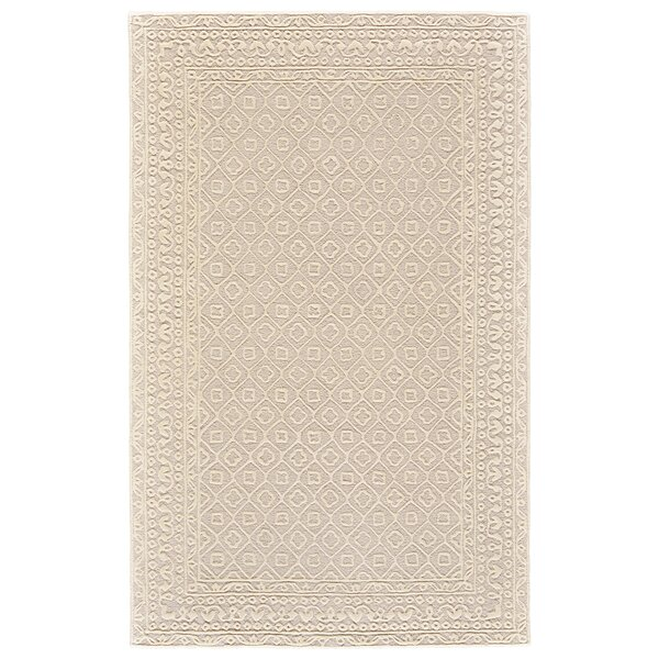 Griego Hand-Tufted Wool Light Beige/Ivory Area Rug by Bungalow Rose