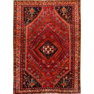 Inexpensive One-of-a-Kind Mcmanis Kashkoli Vintage Persian Hand-Knotted 4'11 x 7'10 Wool Red/Black Area Rug By Isabelline