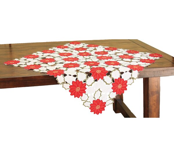 Holiday Poinsettia Embroidered Cutwork Table Topper by Xia Home Fashions