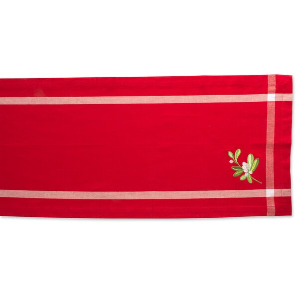 Lydia Embroidered Mistletoe Table Runner by The Holiday Aisle