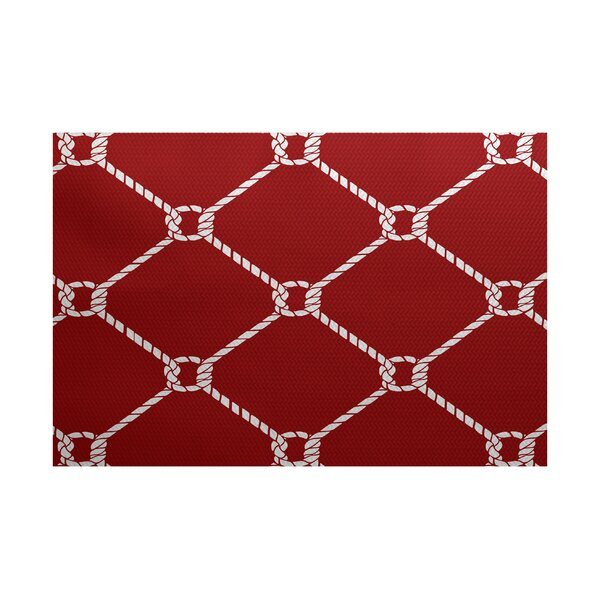 Bridgeport Ahoy Red Indoor/Outdoor Area Rug by Beachcrest Home