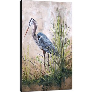 'Coastal In the Reeds-Blue Heron B' Painting Print on Wrapped Canvas by Ashton Wall Décor LLC