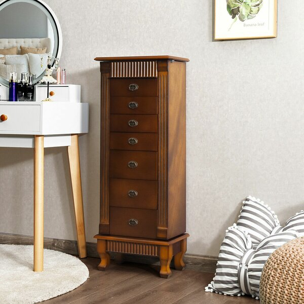 Melitta Wood Free Standing Jewelry Armoire With Mirror By Canora Grey