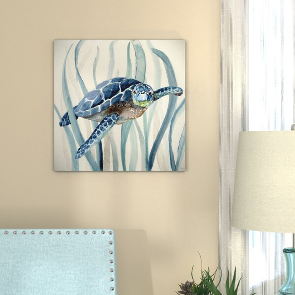 Turtle In Seagrass I Oil Painting Print On Wrapped Canvas By Bay Isle Home.