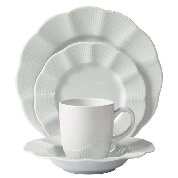 Milena Scalloped Porcelain 16 Piece Dinnerware Set, Service for 4 by Mitterteich