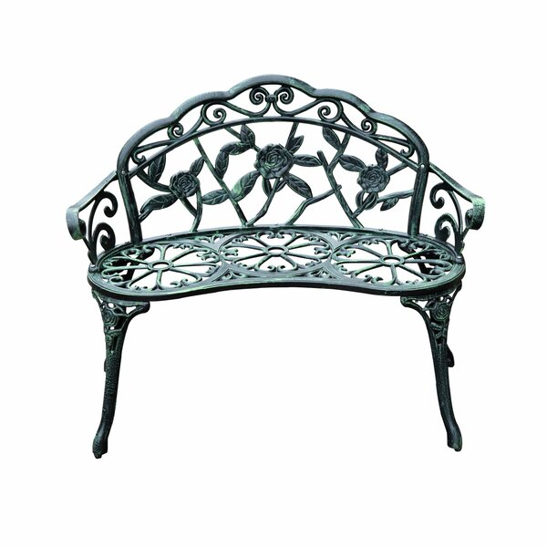 Asheville Antique Outdoor Patio Metal Garden Bench by Astoria Grand