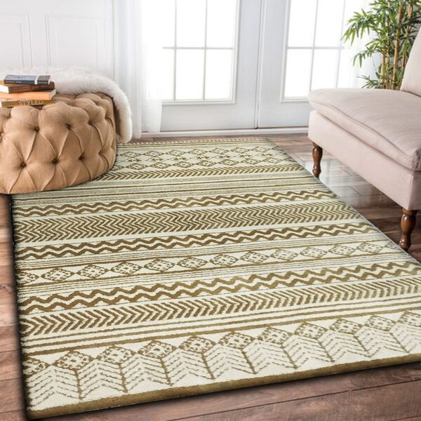 Leyden Hand-Tufted White Indoor Area Rug by Loon Peak