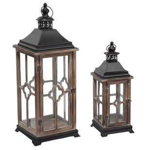 Bargain 2 Piece Wood and Metal Lantern By Bloomsbury Market