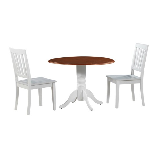 Kaiser 3 Piece Drop Leaf Solid Wood Dining Set by Millwood Pines Millwood Pines