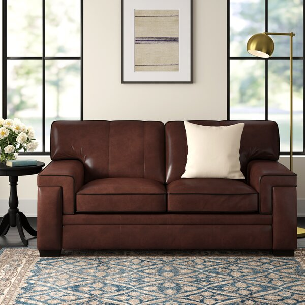 Cabott Leather Loveseat by Three Posts Three Posts
