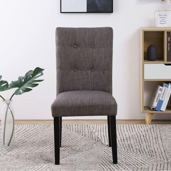 Hugo Tufted Upholstered Parsons Chair In Dark Gray (Set Of 2) By Gracie Oaks