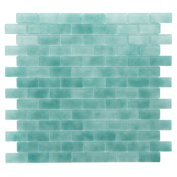 Quartz 0.75 x 1.63 Glass Mosaic Tile in Aqua/ Green by Kellani