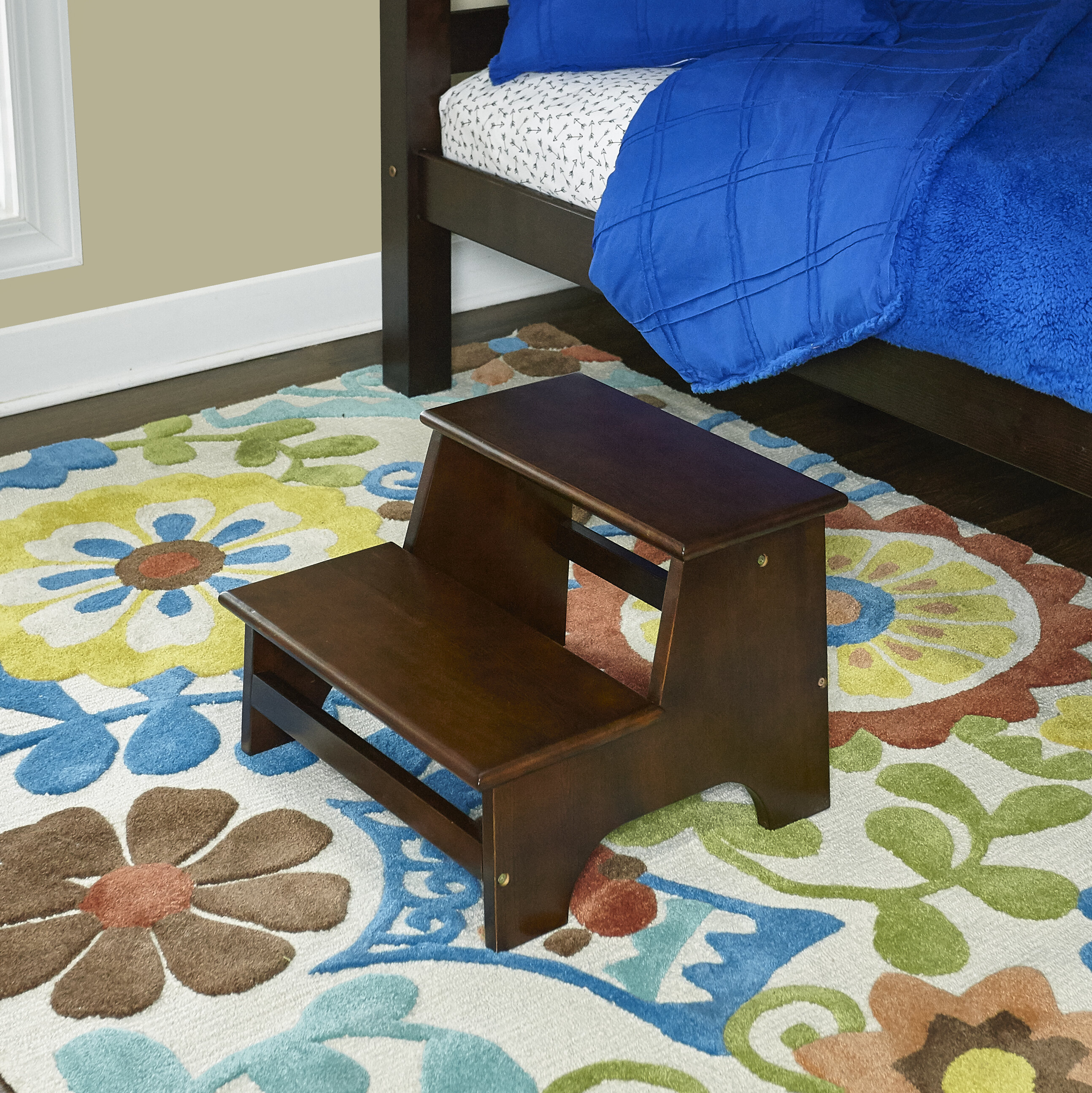 Excellent Powell Tyler Bed 2 Step Wood Step Stool With 180 Lb Load Machost Co Dining Chair Design Ideas Machostcouk