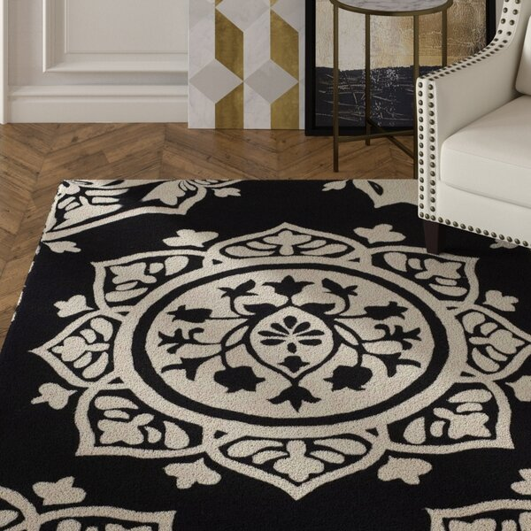 Romford Hand-Tufted Black Area Rug by House of Hampton