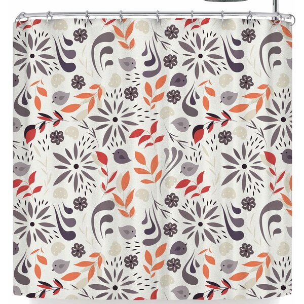 Bluelela Flowers and Birds 002 Shower Curtain by East Urban Home