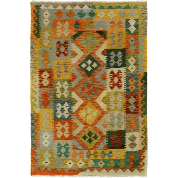 One-of-a-Kind Bakerstown Kilim Hand-Woven Wool Ivory/Orange Area Rug by Bloomsbury Market