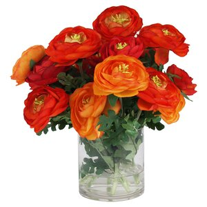 Faux Red & Orange Ranunculus