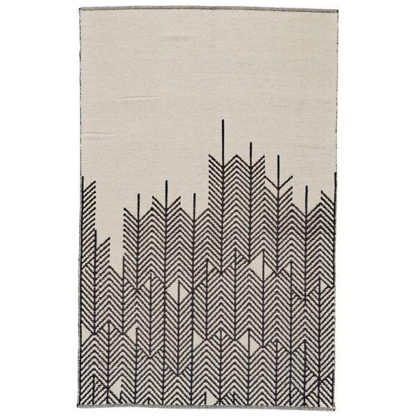Evins Hand-Woven Wool Black/White Area Rug by Ebern Designs