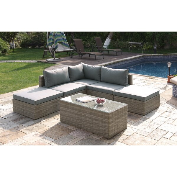 6 Piece Rattan Sectional Seating Group Set with Cushions by JB Patio