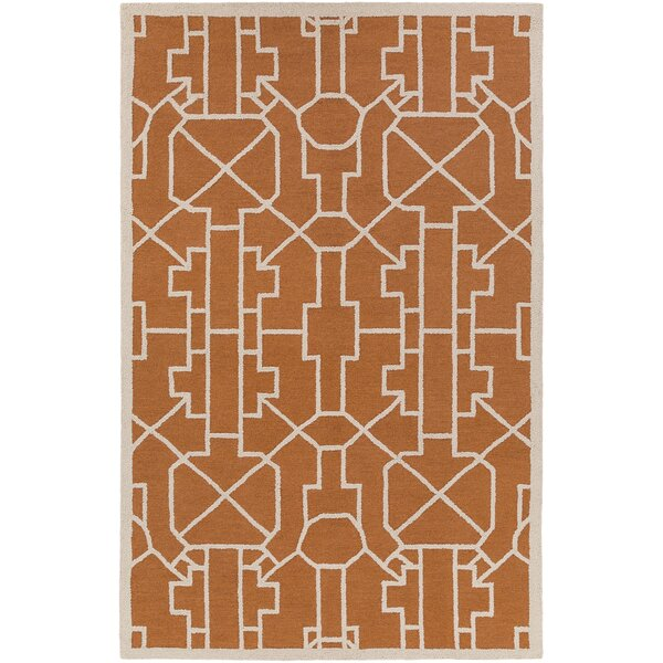 Salamanca Hand-Crafted Orange Area Rug by Mercer41