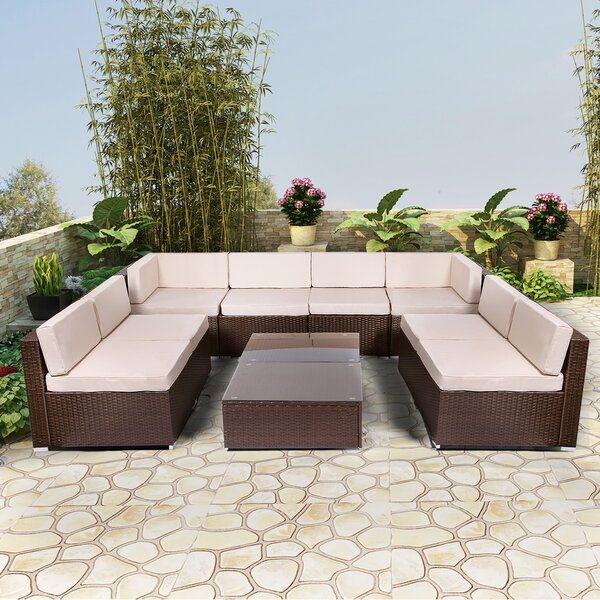Crozet 10 Piece Sectional Seating Group with Cushions by Ebern Designs