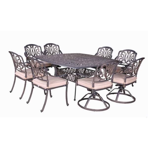 Gunter 9 Piece Dining Set with Cushions by Fleur De Lis Living