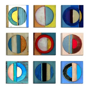 'Textured Circles Yellow and Blue' 9 Piece Canvas Wall Art Set