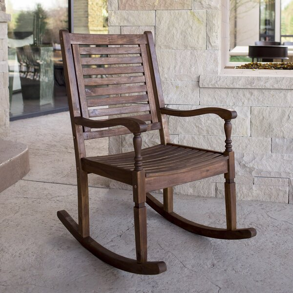 Zinnia Solid Acacia Wood Patio Rocking Chair by Three Posts