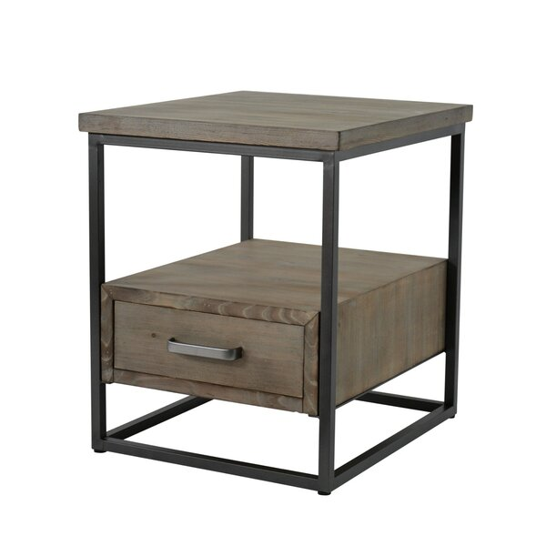 Ramon Contemporary Metal and Wood End Table with Storage by 17 Stories
