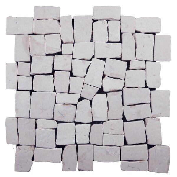 Blocks Random Sized Natural Stone Pebble Tile in White by Pebble Tile