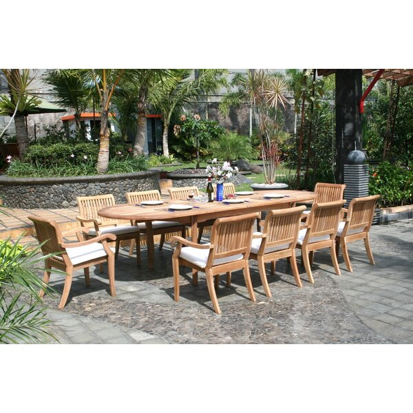Masten 11 Piece Teak Dining Set by Rosecliff Heights