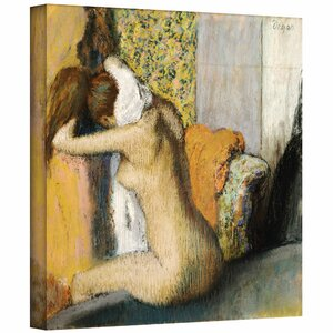 'After the Bath, Woman Drying Her Neck' by Edgar Degas Painting Print on Wrapped Canvas by ArtWall