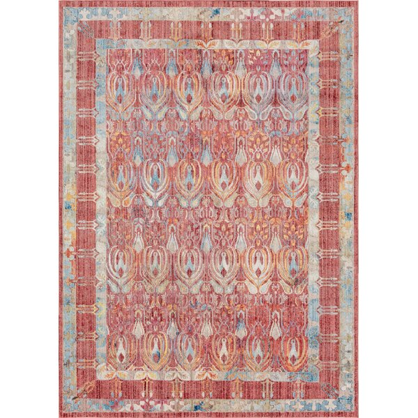 Gomez Red/Blue Area Rug by Bungalow Rose