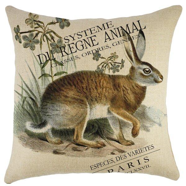 Rabbit Burlap Throw Pillow by TheWatsonShop