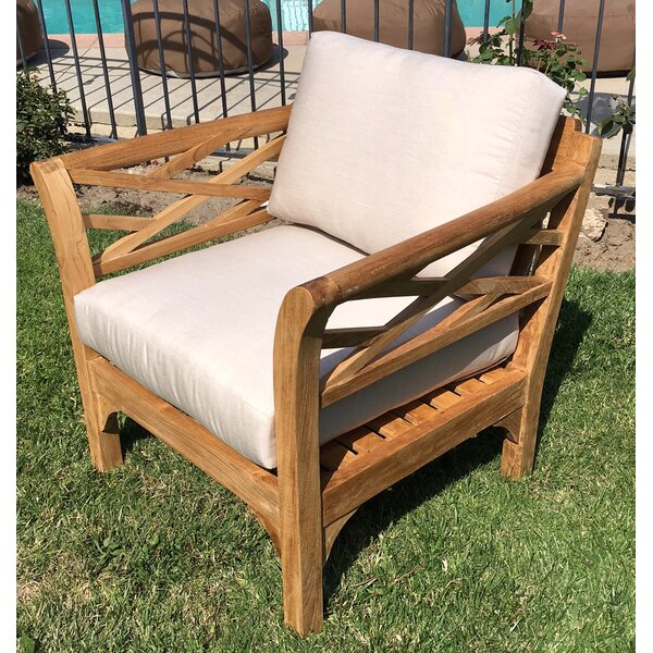 Lorenzo Outdoor Teak Club Chair and Ottoman with Cushions by Longshore Tides Longshore Tides