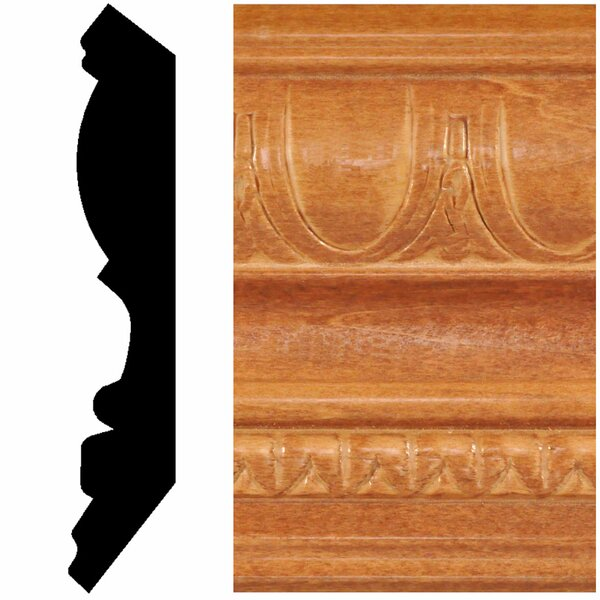 13/16 in. x 4-1/2 in. x 8 ft. Hardwood Stained Cherry Embossed Crown Moulding by Manor House
