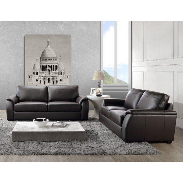Voyles 2 Piece Leather Living Room Set