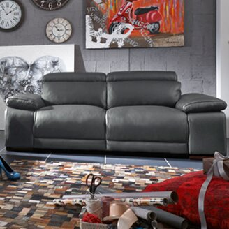 Strafford Leather Reclining Sofa by Latitude Run