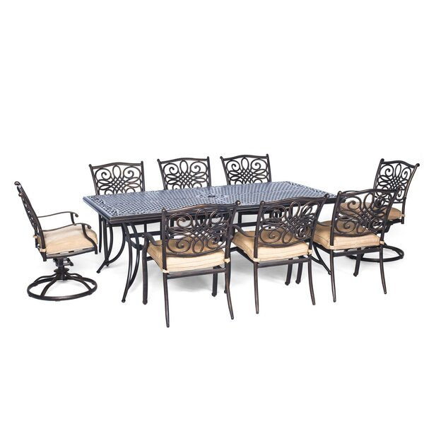 Lauritsen 9 Piece Dining Set with Natural Oat Cushion by Three Posts